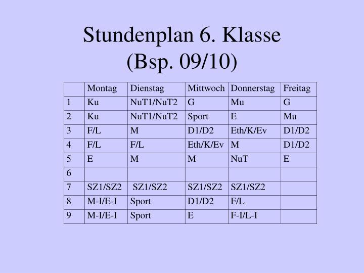 Stundenplan 6. Klasse