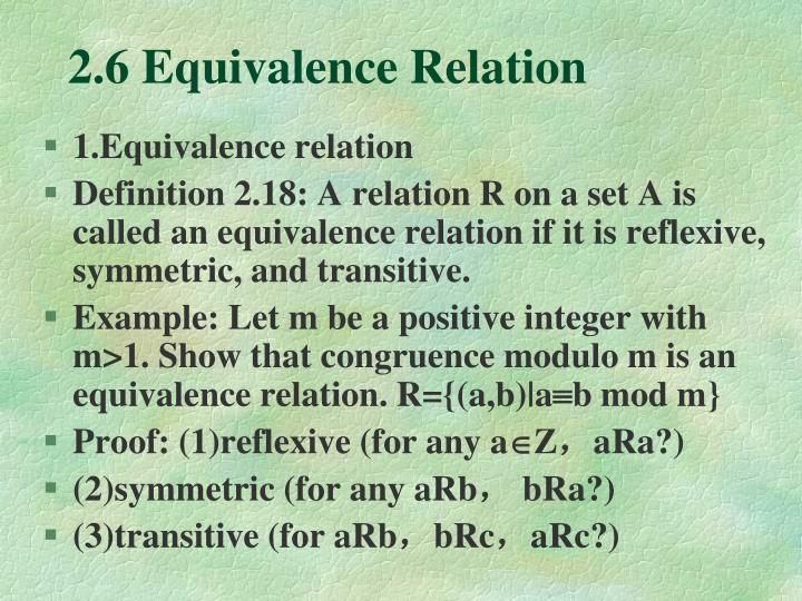 2.6 Equivalence Relation