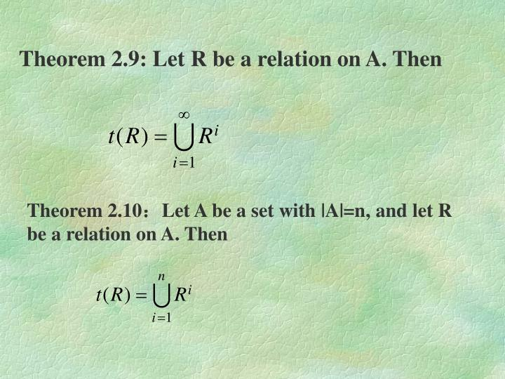 Theorem 2.9: Let R be a relation on A. Then