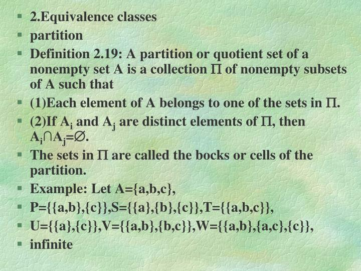 2.Equivalence classes