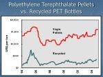 polyethylene terephthalate pellets vs recycled pet bottles