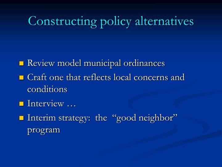 Constructing policy alternatives