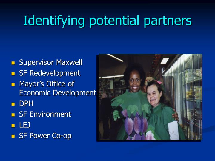 Identifying potential partners