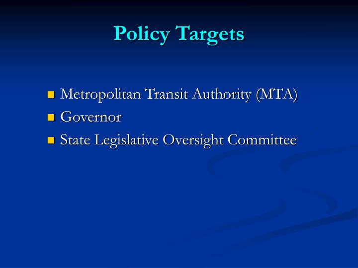 Policy Targets