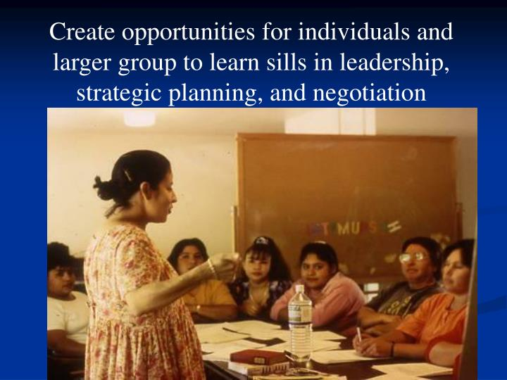 Create opportunities for individuals and larger group to learn sills in leadership, strategic planning, and negotiation