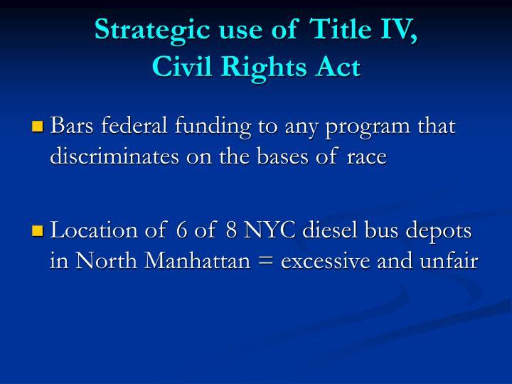 Strategic use of Title IV,