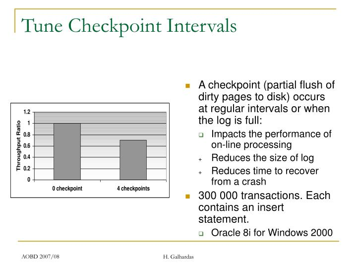 A checkpoint (partial flush of dirty pages to disk) occurs at regular intervals or when the log is full: