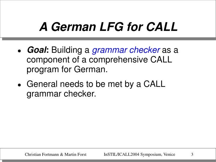 A German LFG for CALL
