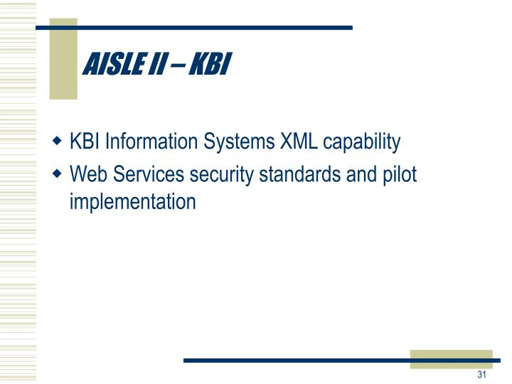 AISLE II – KBI