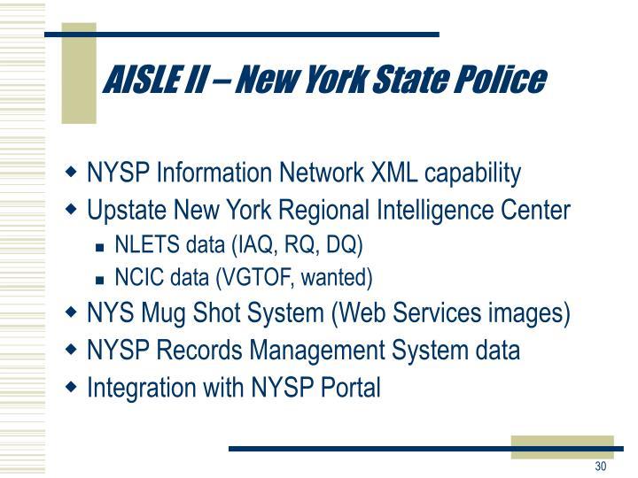 AISLE II – New York State Police