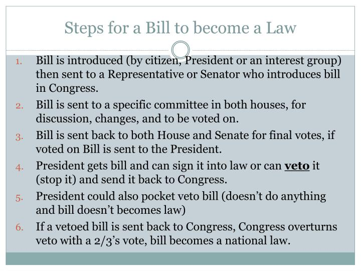 Steps for a Bill to become a Law
