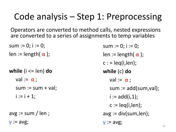 Code analysis – Step 1: Preprocessing