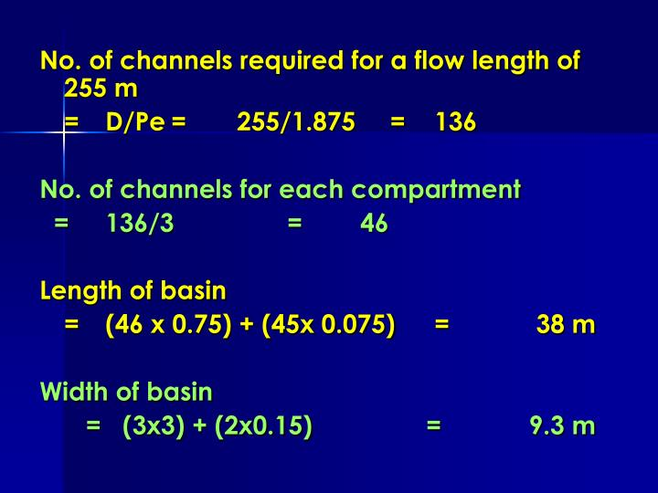 No. of channels required for a flow length of 255 m