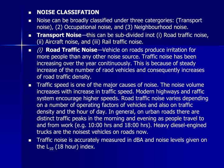 NOISE CLASSIFATION