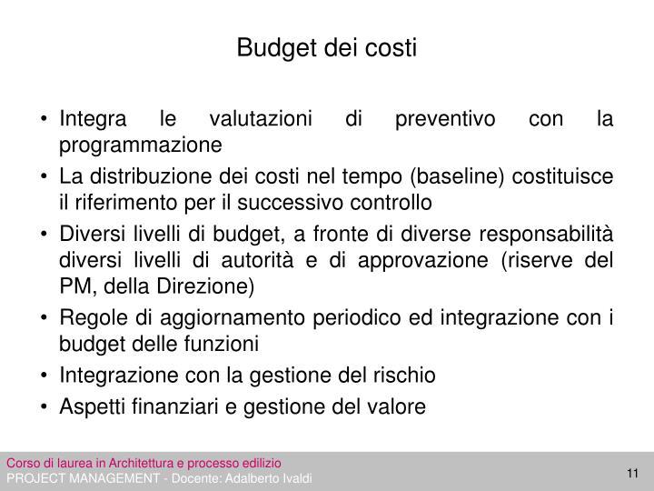 Budget dei costi