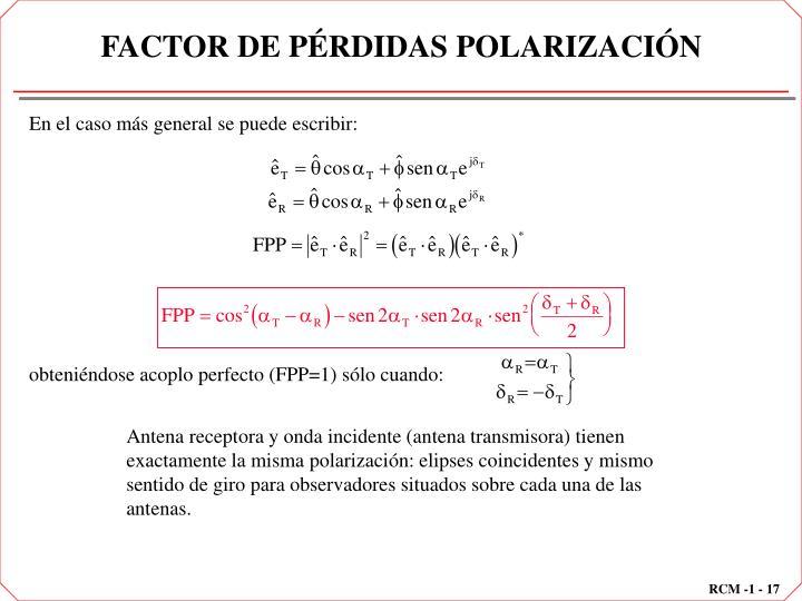 FACTOR DE PÉRDIDAS POLARIZACIÓN