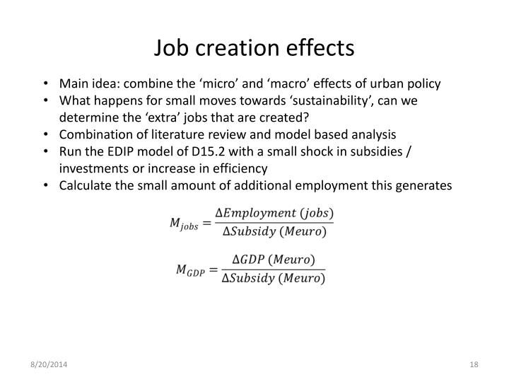 Job creation effects