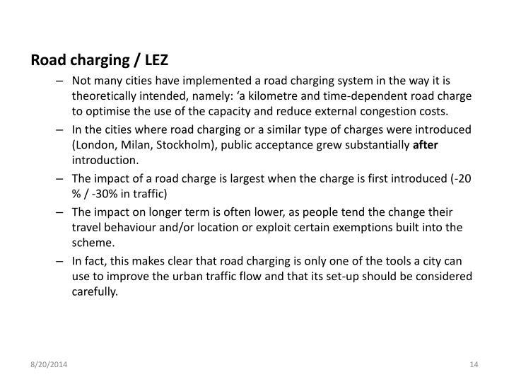 Road charging / LEZ