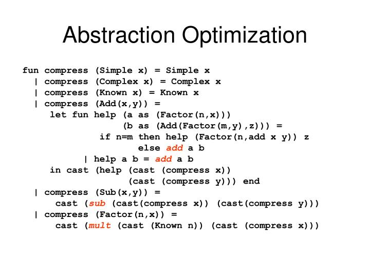 Abstraction Optimization