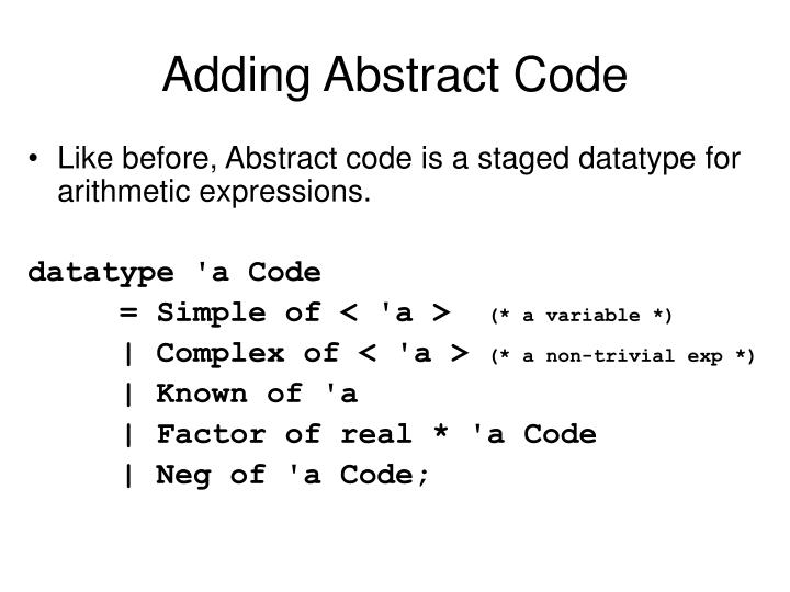 Adding Abstract Code