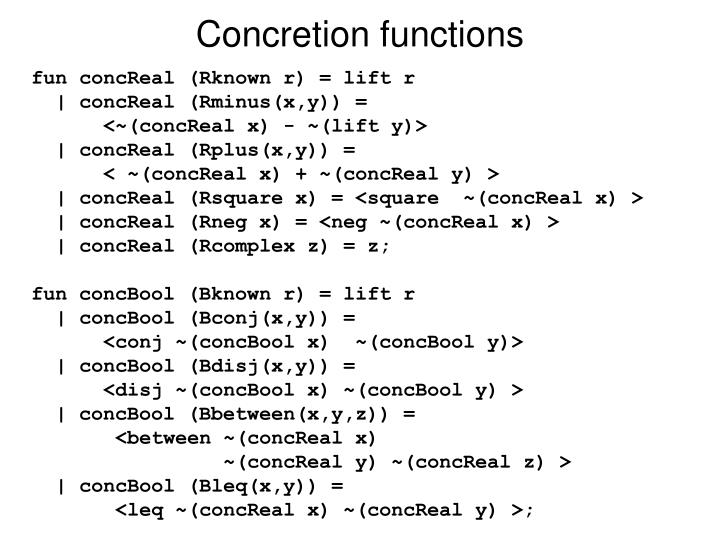 Concretion functions