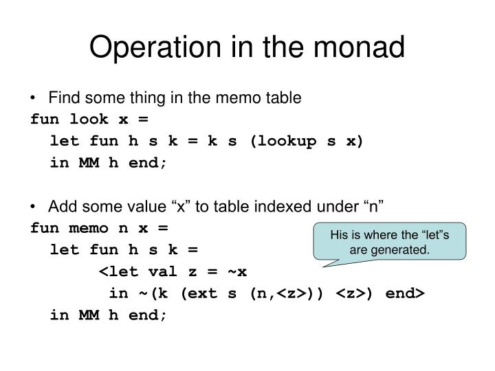 Operation in the monad
