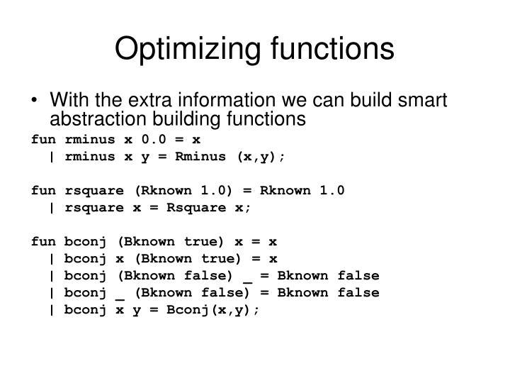 Optimizing functions