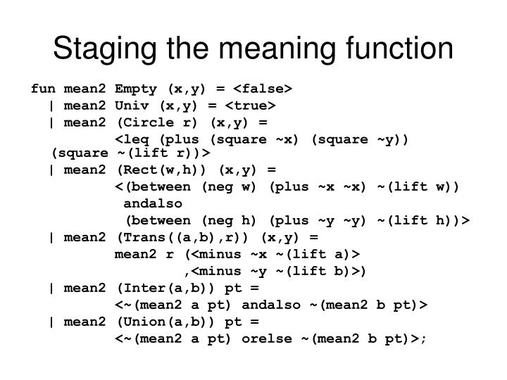 Staging the meaning function