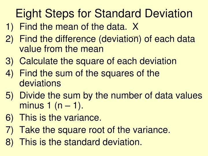 Eight Steps for Standard Deviation