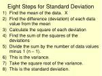 eight steps for standard deviation