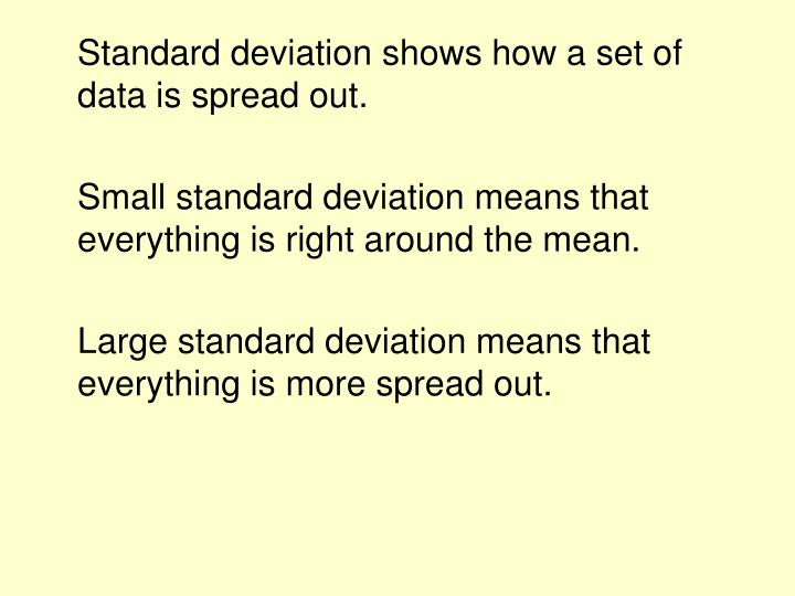 Standard deviation shows how a set of data is spread out.