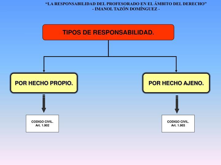 TIPOS DE RESPONSABILIDAD.