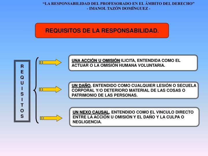REQUISITOS DE LA RESPONSABILIDAD.