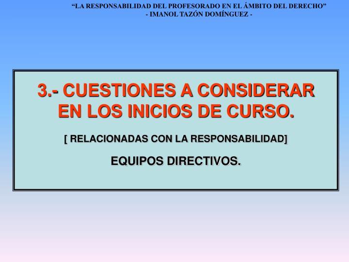 3.- CUESTIONES A CONSIDERAR