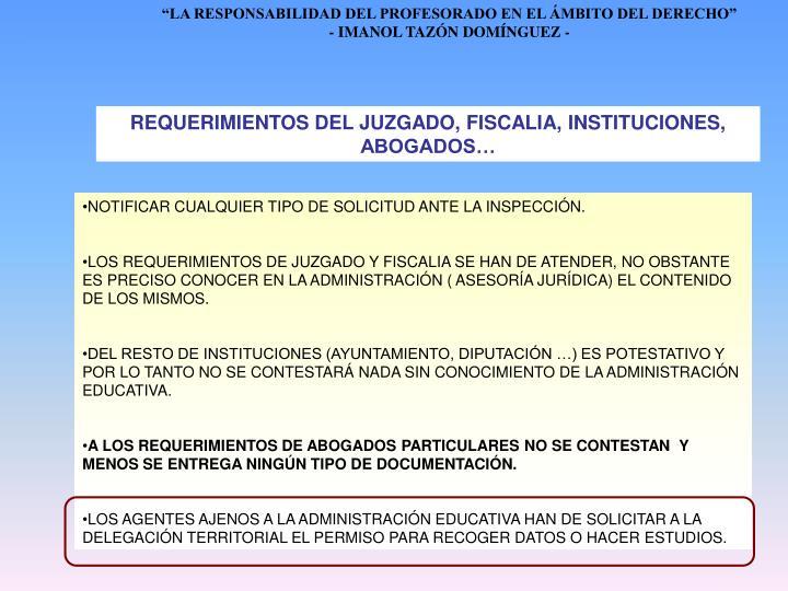 REQUERIMIENTOS DEL JUZGADO, FISCALIA, INSTITUCIONES, ABOGADOS…