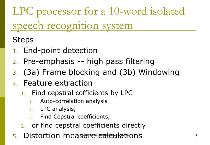 LPC processor for a 10-word isolated speech recognition system