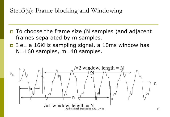 Step3(a): Frame blocking and Windowing