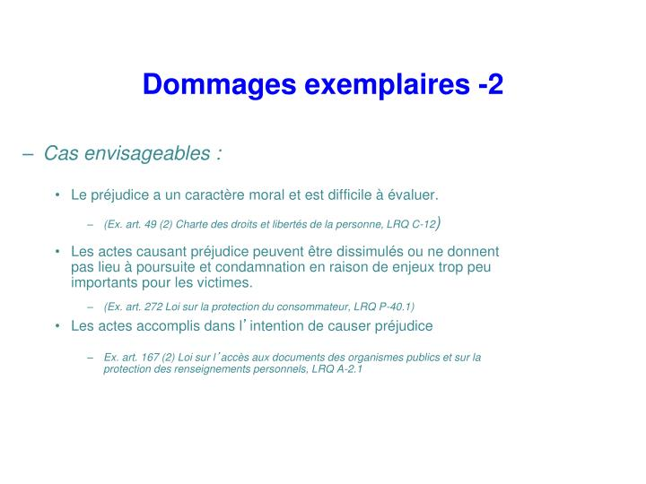 Dommages exemplaires -2