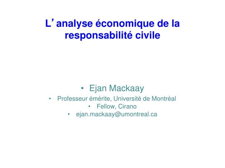 l analyse conomique de la responsabilit civile