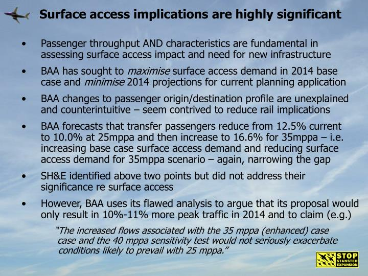 Surface access implications are highly significant
