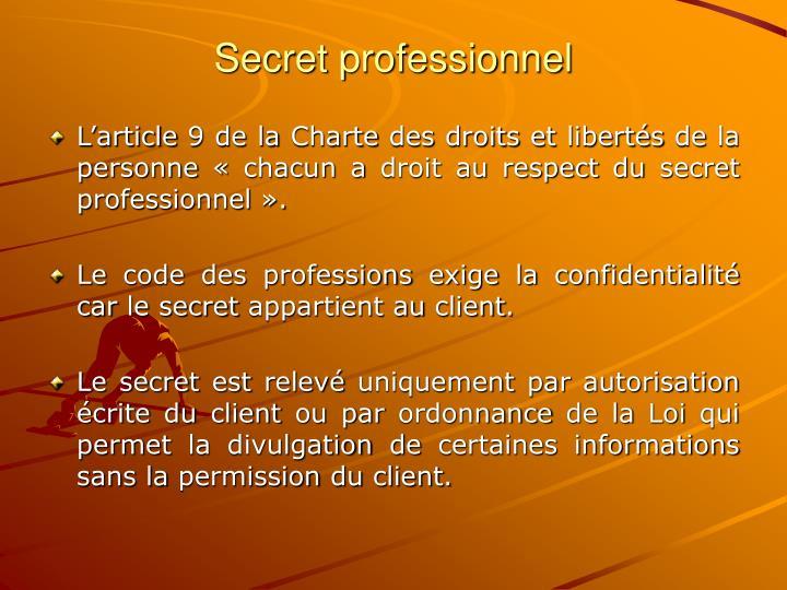 Secret professionnel
