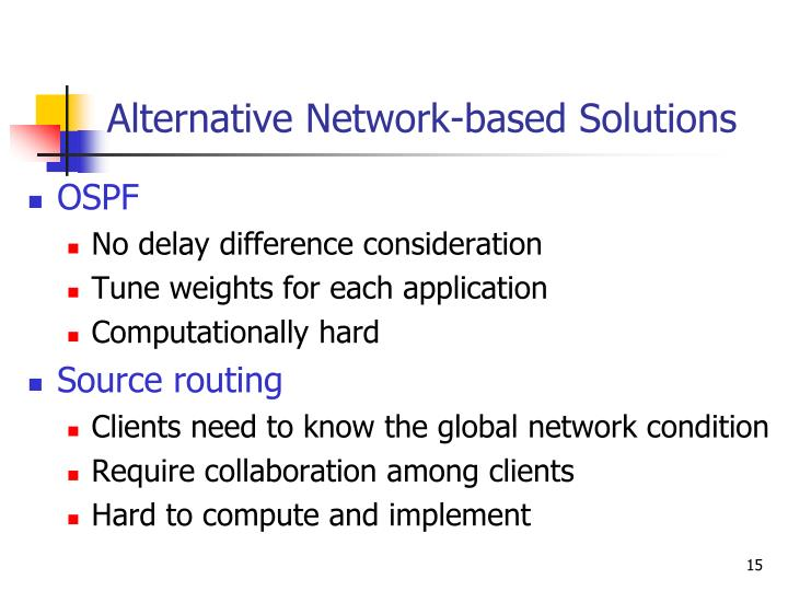 Alternative Network-based Solutions