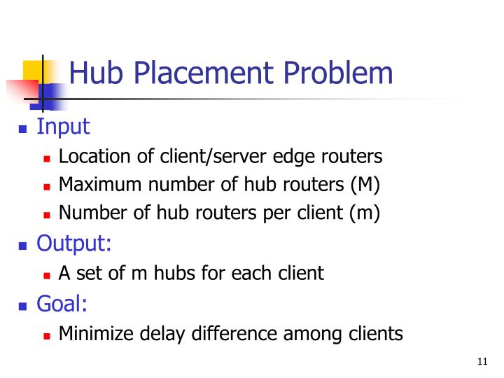 Hub Placement Problem