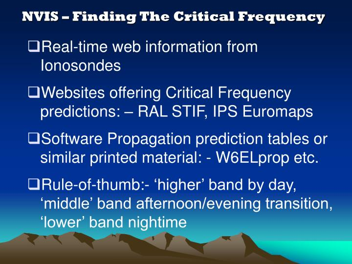 NVIS – Finding The Critical Frequency