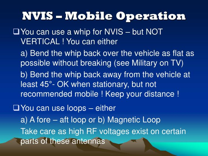 NVIS – Mobile Operation