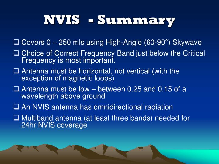 NVIS- Summary