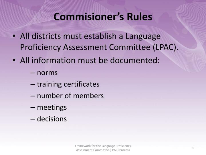 Commisioner's Rules