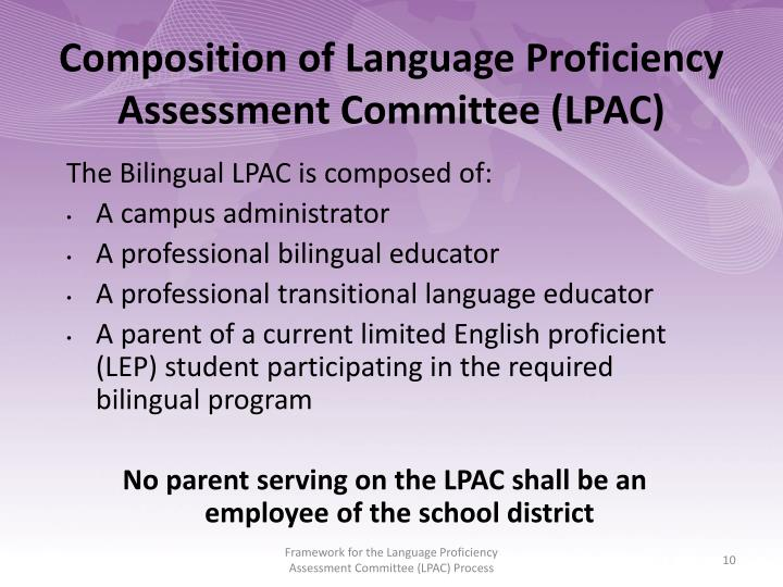 Composition of Language Proficiency Assessment Committee (LPAC)