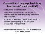 composition of language proficiency assessment committee lpac1