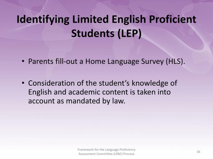 Identifying Limited English Proficient Students (LEP)